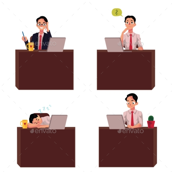 Young Businessman Sitting at Office Desk - People Characters