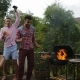 Young People Dancing Cooking Barbecue Friends Group Cheerful Gathering On Summer Terrace Having - VideoHive Item for Sale