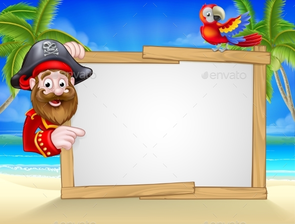 Cartoon Pirate Beach Background - Miscellaneous Vectors