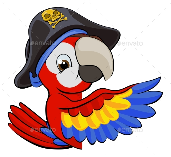 Cartoon Parrot in Pirate Hat - Animals Characters