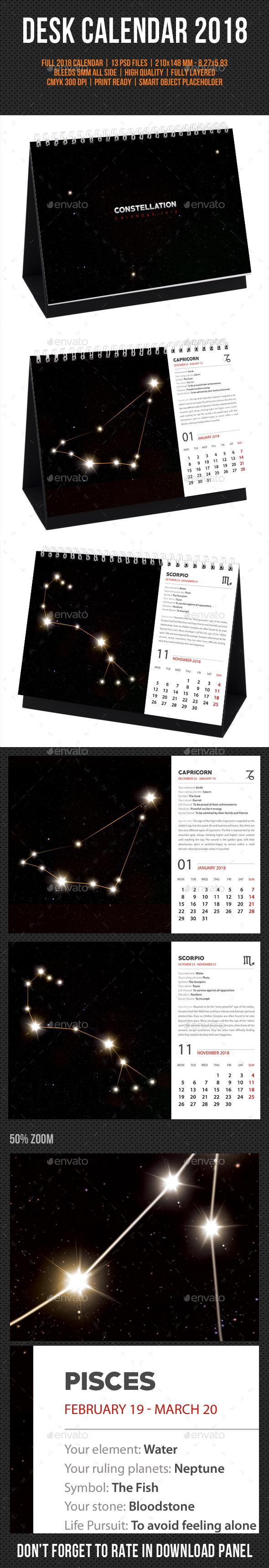 Constellation Desk Calendar 2018 - Calendars Stationery