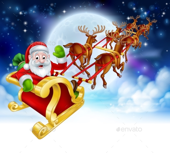 Santa Reindeer Sleigh Cartoon Christmas Scene - Christmas Seasons/Holidays