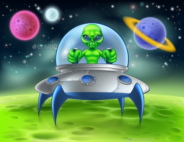 Cartoon Alien UFO Flying Saucer on Planet - Miscellaneous Characters