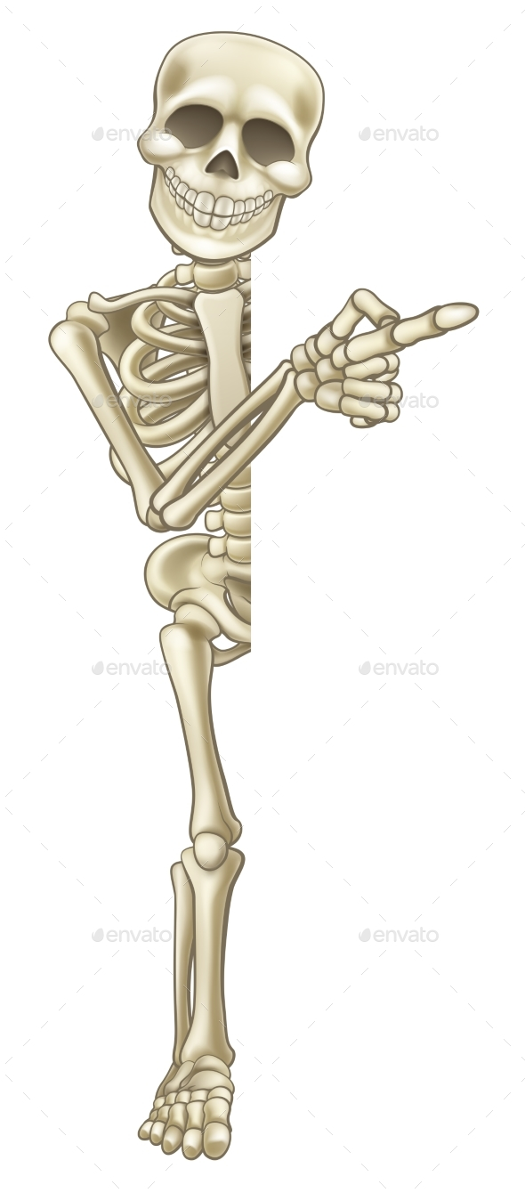 Skeleton Cartoon Pointing at Sign - Miscellaneous Vectors