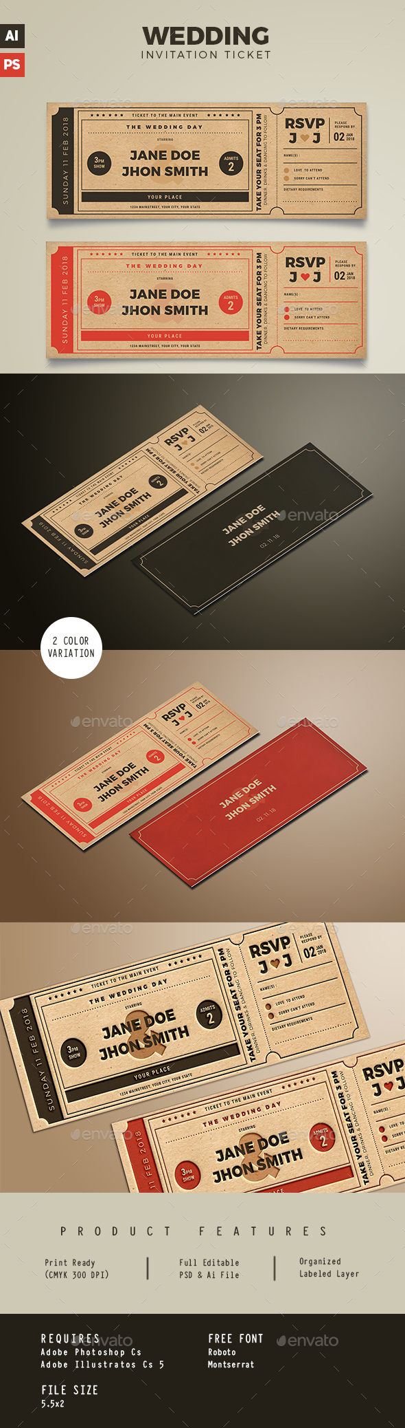 Wedding Invitation Movie Ticket - Weddings Cards & Invites