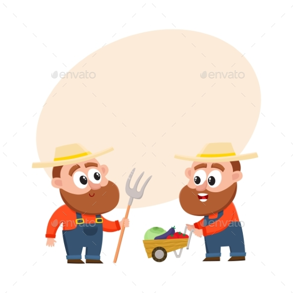 Farmers Harvesting Vegetables - People Characters