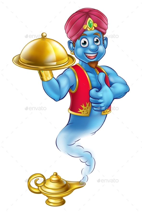 Cartoon Genie Serving Food - Food Objects