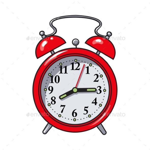 Retro Style Red Analog Alarm Clock - Miscellaneous Vectors