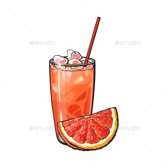 Grapefruit Quarter and Glass of Freshly Squeezed - Food Objects
