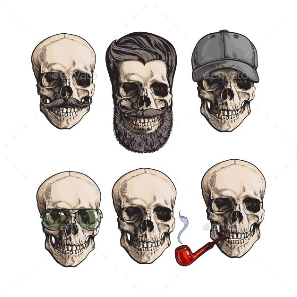 Human Skull Bones with Sunglasses and Beard - People Characters