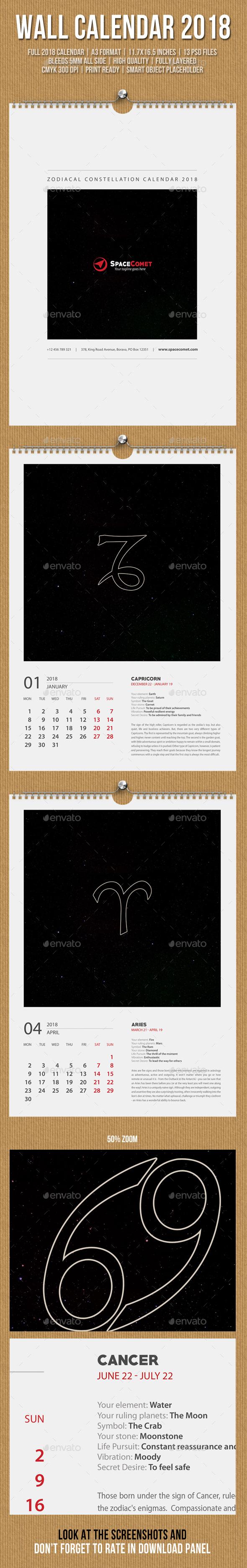 Constellation Wall Calendar A3 2018