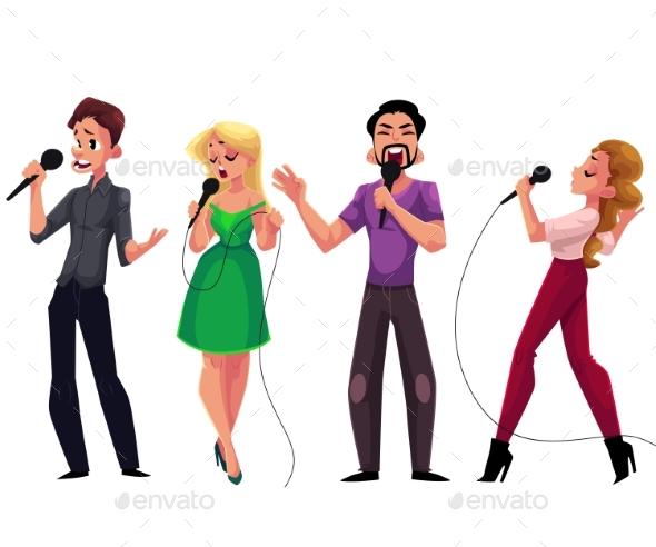 Men and Women Singing Karaoke - People Characters