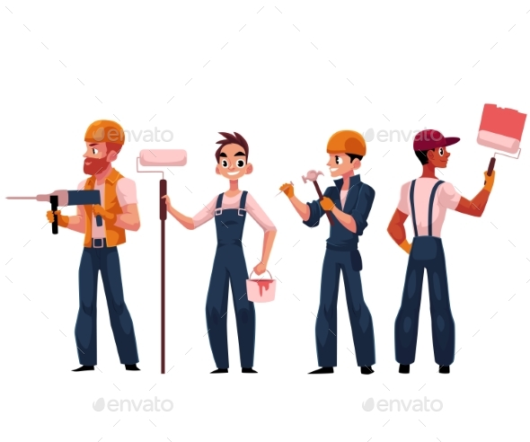 Team of Construction Workers - People Characters