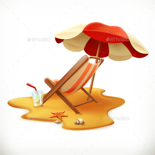 Beach Umbrella And Lounge Chair - Seasons Nature