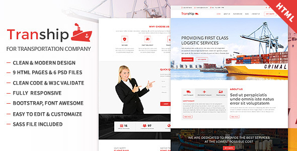 Tranship – Shipping / Logistics / Transportation / Responsive HTML Template