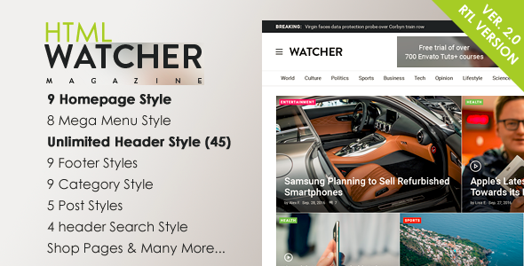 Watcher - News Magazine HTML Template - Miscellaneous Site Templates