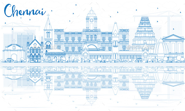 Outline Chennai Skyline with Blue Landmarks and Reflections - Buildings Objects