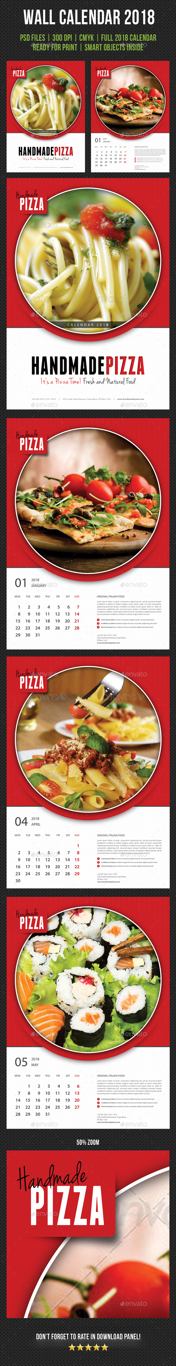 Cook And Food Wall Calendar 2018