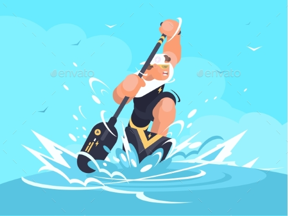Strong Man in Canoe - People Characters