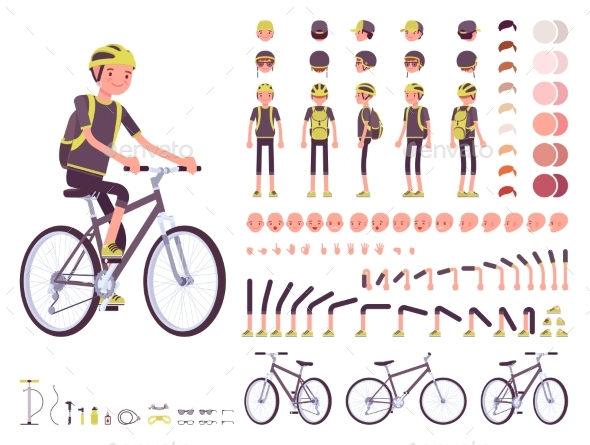 Male Cyclist Character Creation Set - Sports/Activity Conceptual