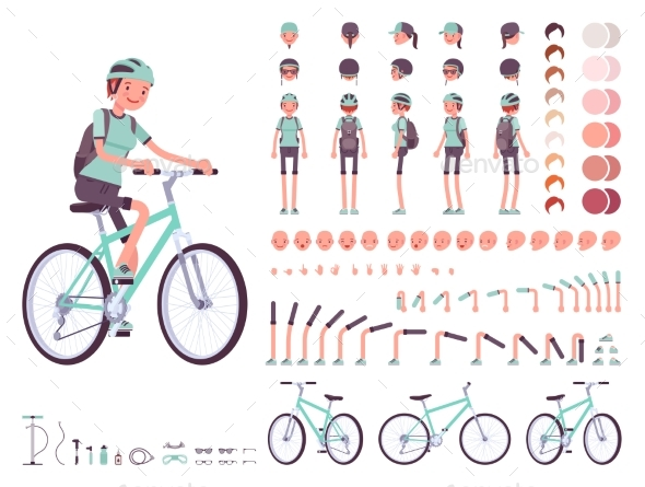 Female Cyclist Character Creation Set - Sports/Activity Conceptual
