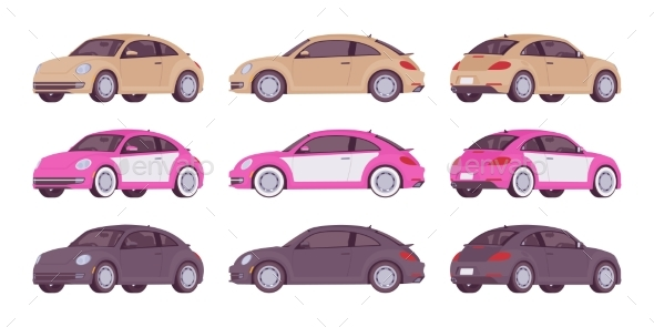 Set of Economy Cars - Man-made Objects Objects