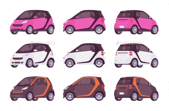 Set of Mini Electric Cars - Man-made Objects Objects