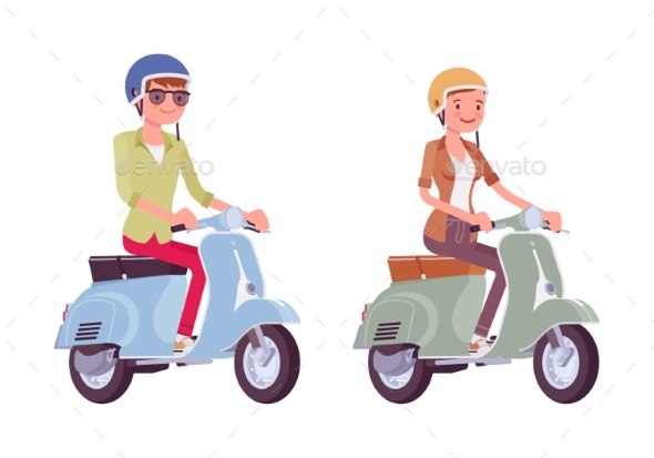 Man and Woman Riding Scooters - Sports/Activity Conceptual