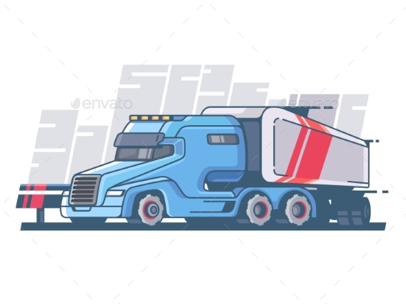 Large Truck with Long Trailer - Miscellaneous Vectors
