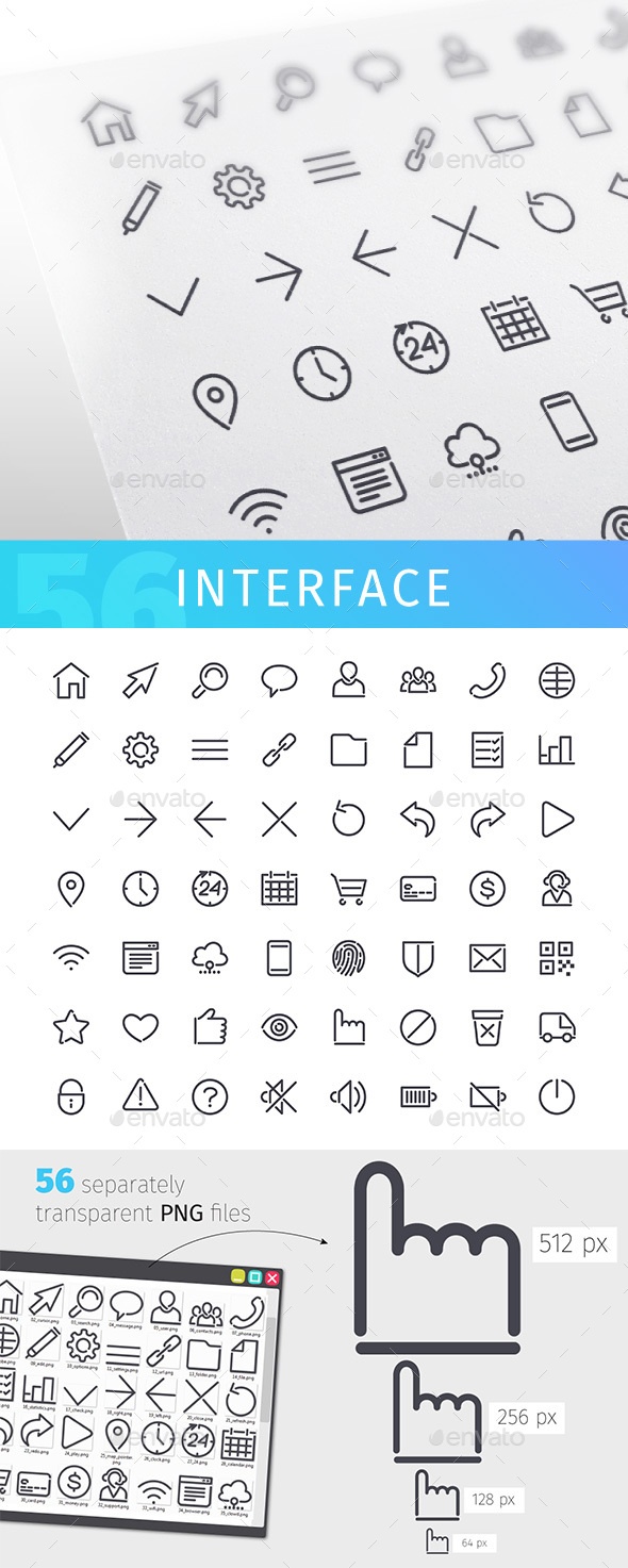 Interface Line Icons Set - Software Icons
