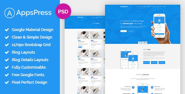 AppsPress – Material App Landing PSD Template
