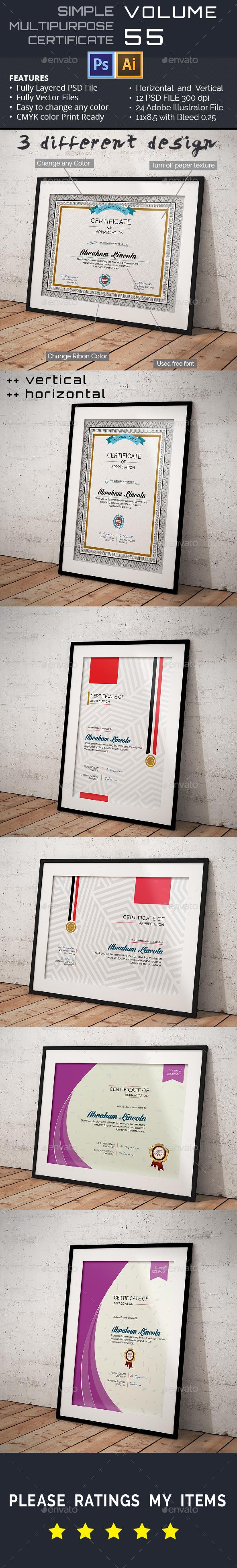 3 Multipurpose Certificate Vol-55 - Certificates Stationery