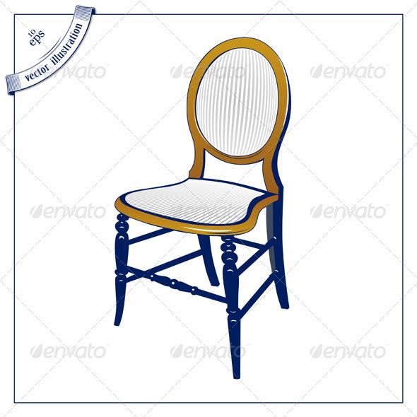 Retro Wood Chair Icon - Miscellaneous Vectors