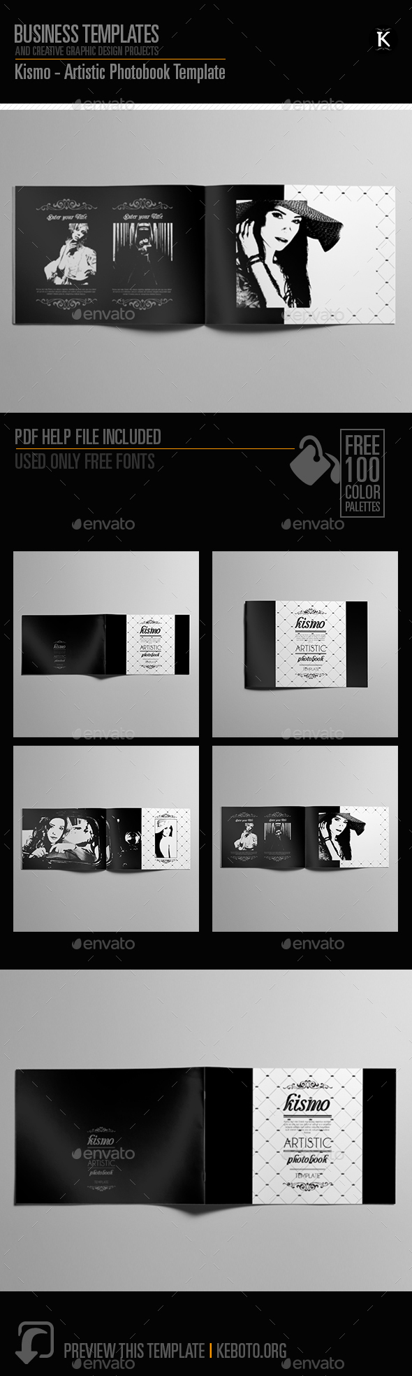 Kismo - Artistic Photobook Template - Photo Albums Print Templates