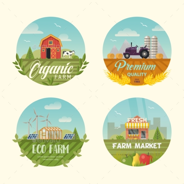 Set of Isolated Farming Logo or Banners with Barn - Animals Characters