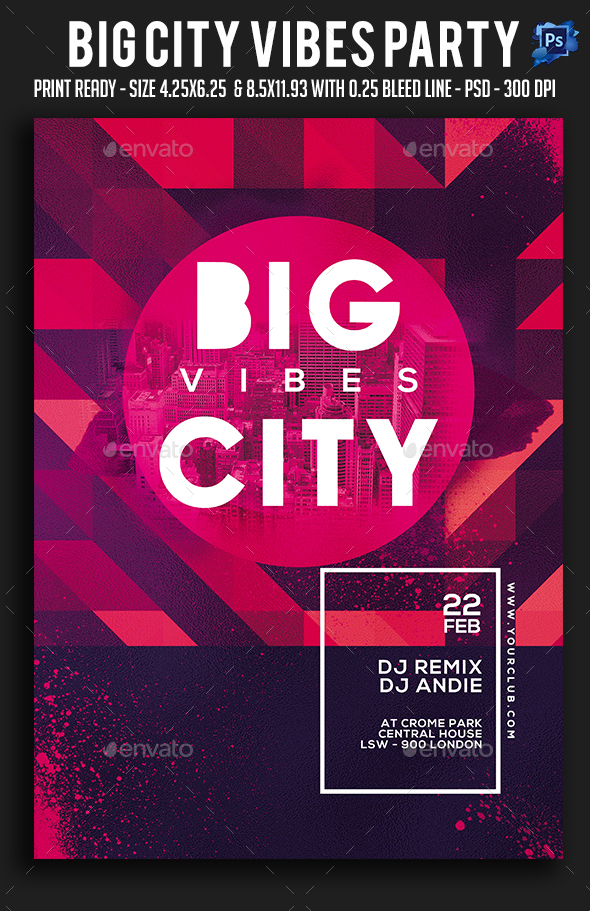 Big City Vibes Party Flyer - Clubs & Parties Events