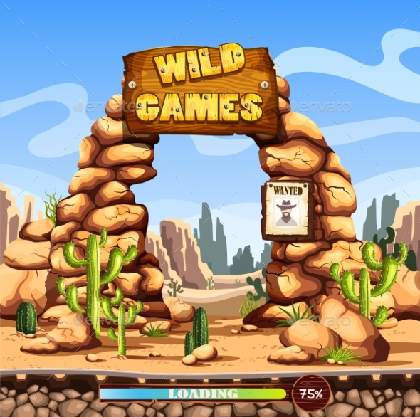 Start or Loading Screen for Web Wild West Game - Miscellaneous Vectors