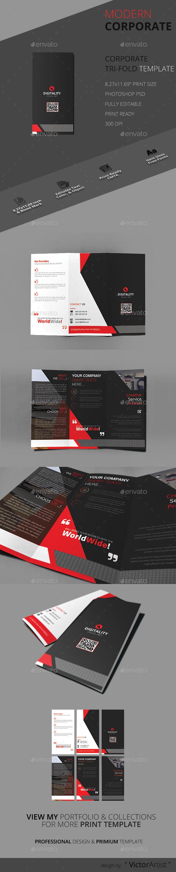 Modern Corporate Tri-Fold Brochure - Brochures Print Templates