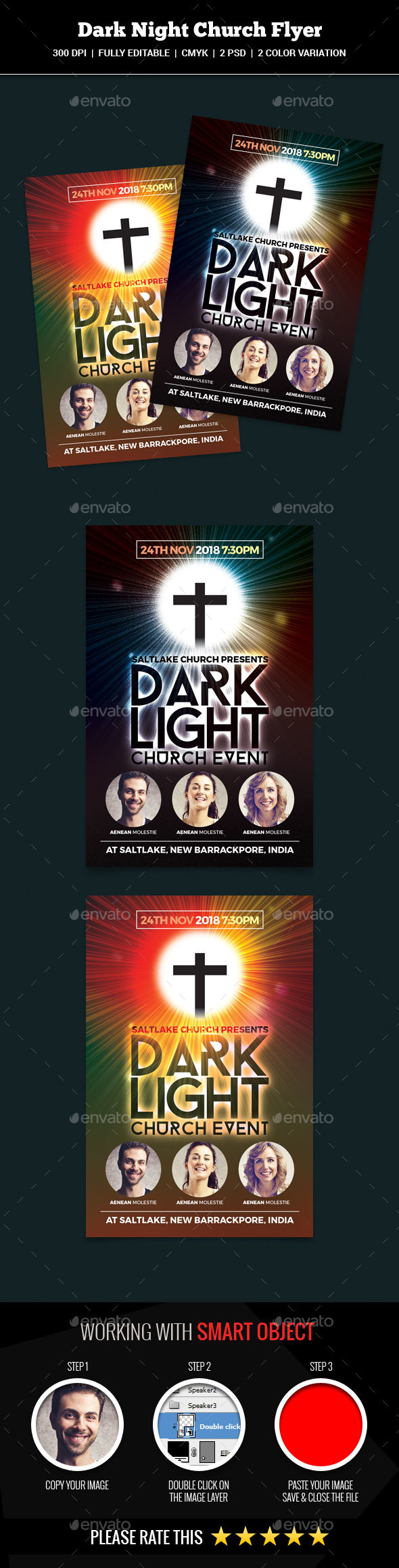 Dark Night Church Flyer - Church Flyers