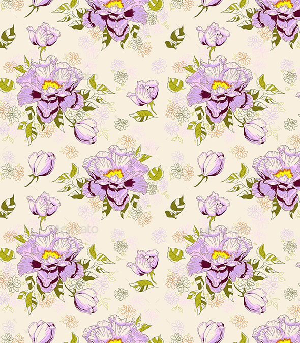 Seamless Pattern with Peony - Patterns Decorative