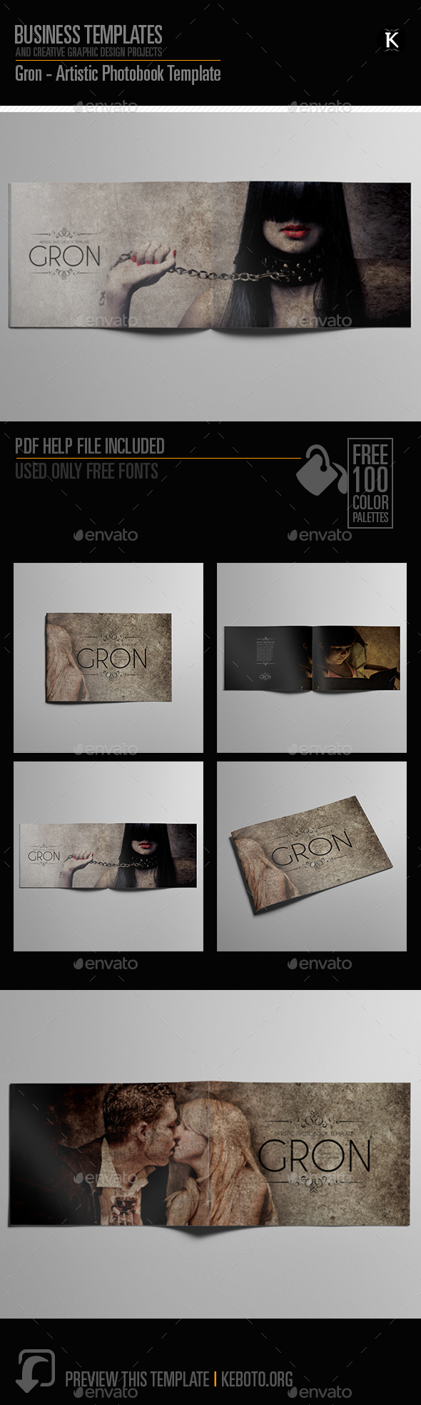 Gron - Artistic Photobook Template - Photo Albums Print Templates