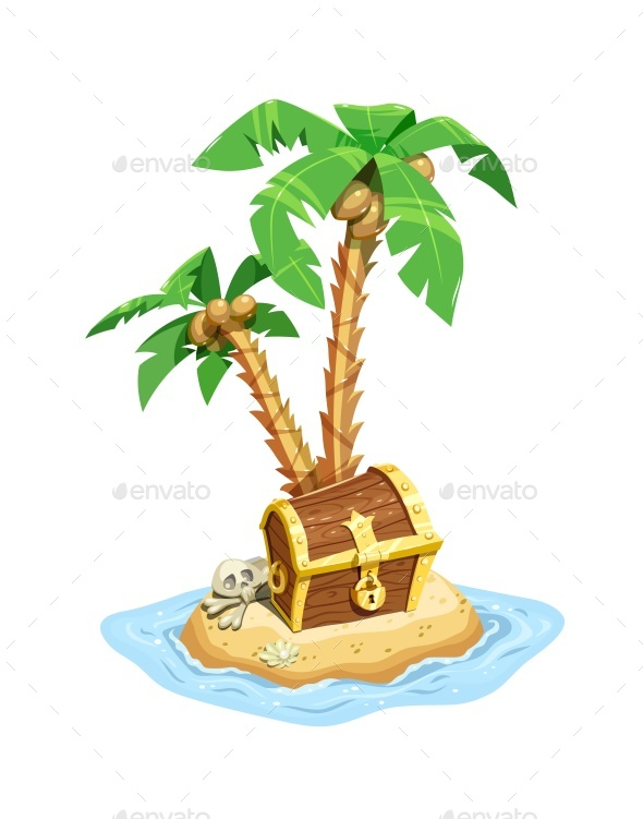 Pirates Treasure Island with Chest and Palms. - Vectors