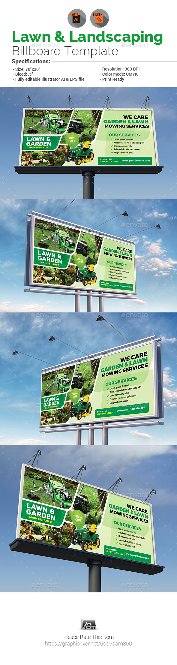 Lawn & Landscaping Billboard - Signage Print Templates
