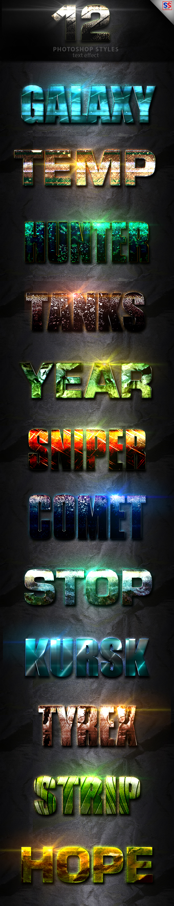 12 Light Photoshop text Effect Vol 13 - Text Effects Styles