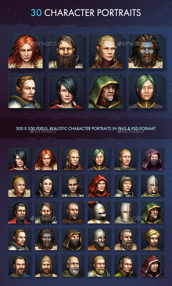 Character Avatar Icons - Fantasy - Miscellaneous Game Assets