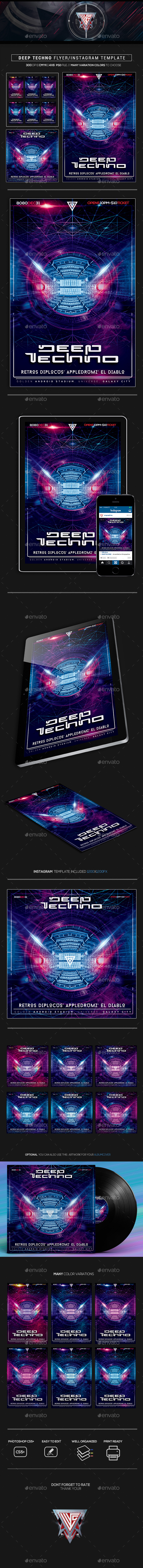 Deep Techno Flyer/Instagram Template - Flyers Print Templates