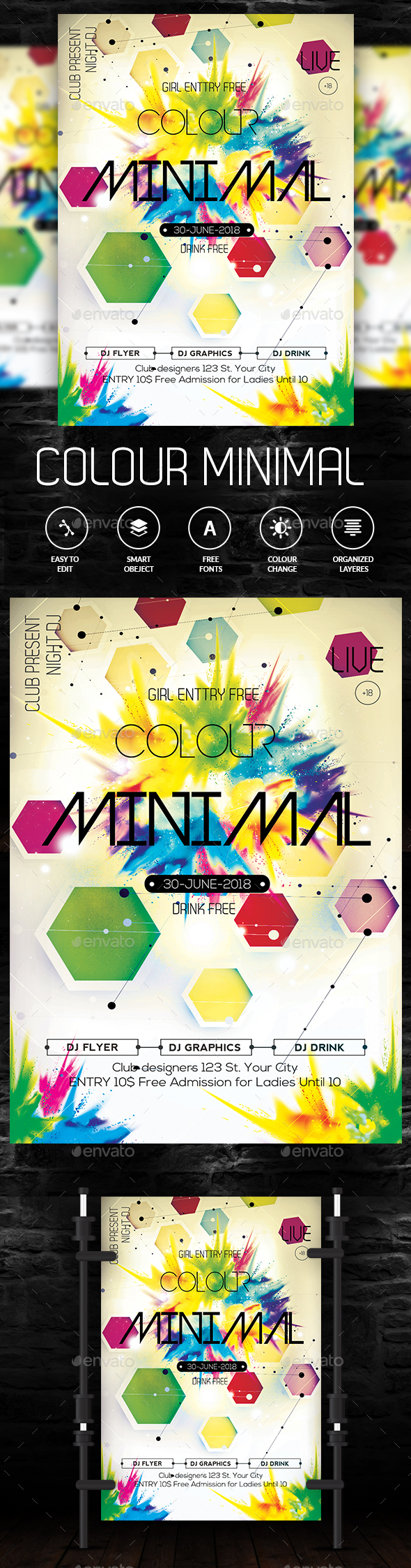Minimal Color Flyer - Clubs & Parties Events