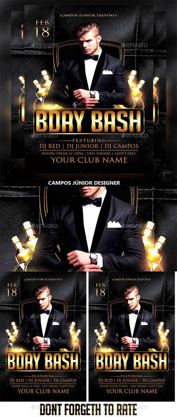 BDAY BASH-Flyer Template - Clubs & Parties Events