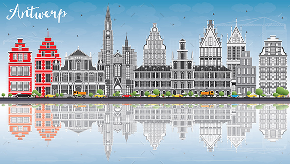 Antwerp Skyline with Gray Buildings, Blue Sky and Reflections. - Buildings Objects