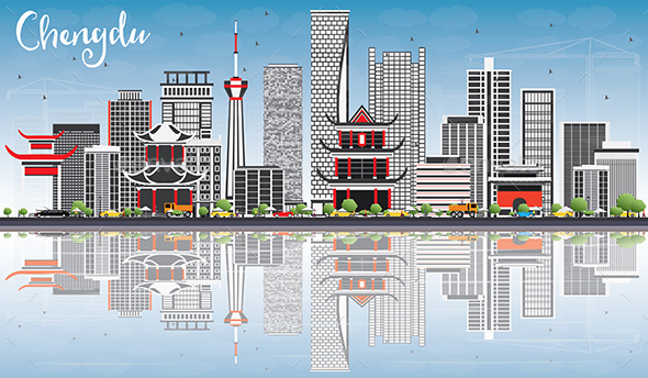 Chengdu Skyline with Gray Buildings, Blue Sky and Reflections. - Buildings Objects